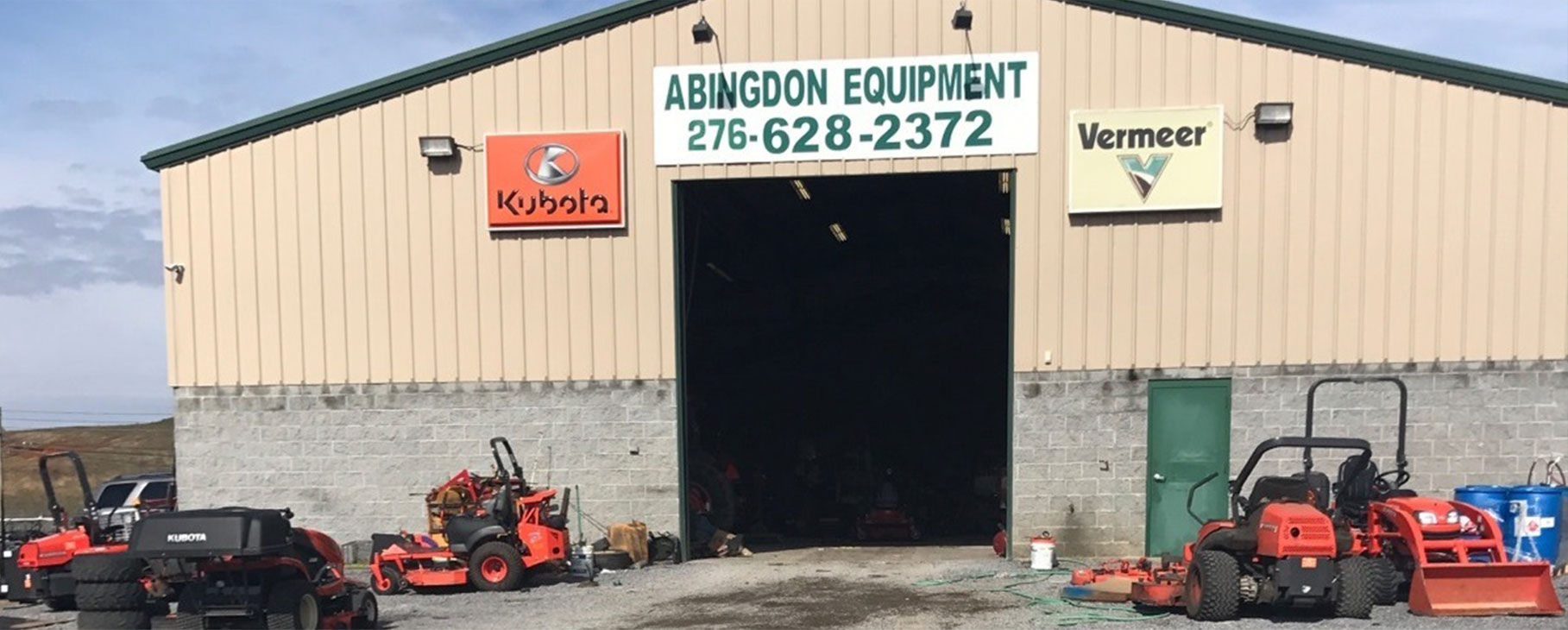 Carries manufacturing brands including Kubota, Vermeer, Land Pride, Krone, Bad Boy, Can-am, and ASV